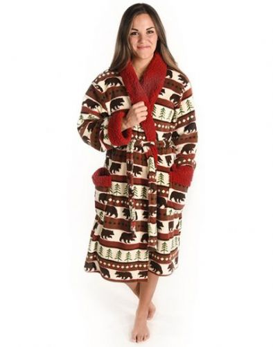 Women's Bear Fair Isle Adult Bathrobe - LazyOne®